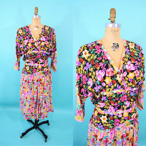 1990s Mixed Floral Print Silky Surplice Dress W 28